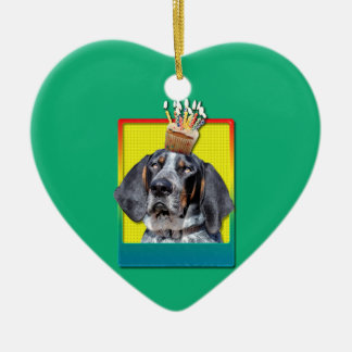 Birthday Cupcake - Bluetick Coonhound - Chuck Christmas Tree Ornaments