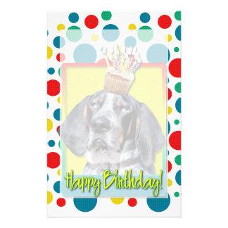 Birthday Cupcake - Bluetick Coonhound - Chuck Stationery