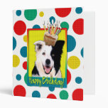 Birthday Cupcake - Border Collie 3 Ring Binder