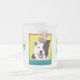 Birthday Cupcake - Border Collie Frosted Glass Coffee Mug