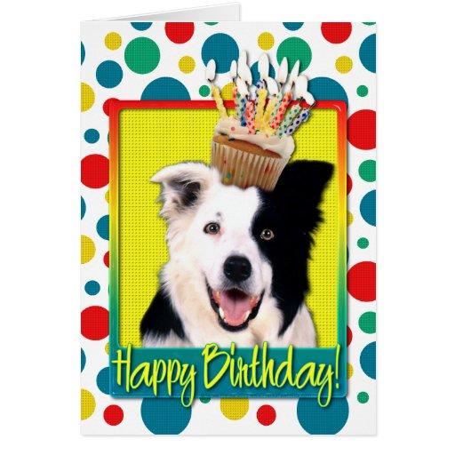 Birthday Cupcake - Border Collie Greeting Card