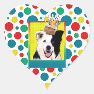 Birthday Cupcake - Border Collie Heart Sticker