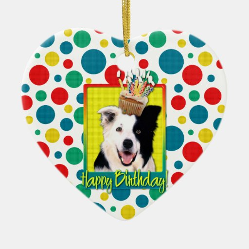 Birthday Cupcake - Border Collie Ornaments