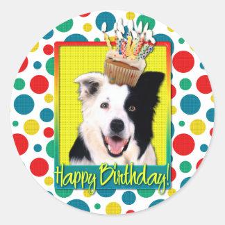 Birthday Cupcake - Border Collie Classic Round Sticker