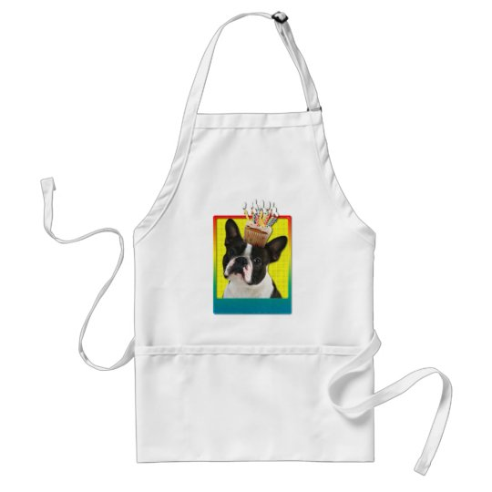 Birthday Cupcake - Boston Terrier Adult Apron