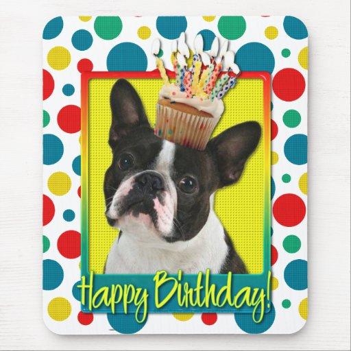 Birthday Cupcake - Boston Terrier Mousepad