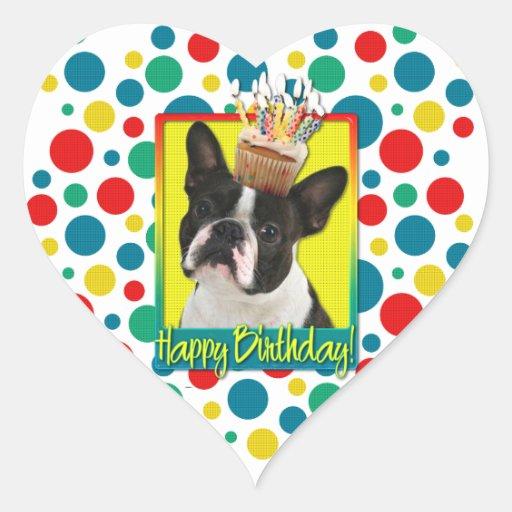 Birthday Cupcake - Boston Terrier Stickers