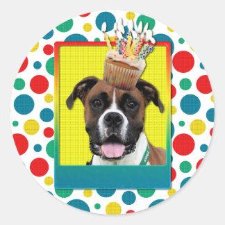 Birthday Cupcake - Boxer - Vindy Classic Round Sticker