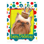 Birthday Cupcake - Brussels Griffon Postcard