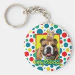 Birthday Cupcake - Bulldog - Dark Basic Round Button Keychain