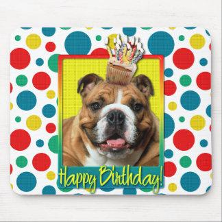 Birthday Cupcake - Bulldog - Dark Mouse Pad