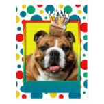 Birthday Cupcake - Bulldog - Dark Postcard