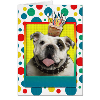 Birthday Cupcake - Bulldog - Light Greeting Cards
