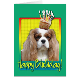 Birthday Cupcake - Cavalier - Blenheim Greeting Card