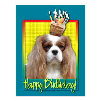 Birthday Cupcake - Cavalier - Blenheim Postcard