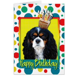 Birthday Cupcake - Cavalier - Tri-Color Card