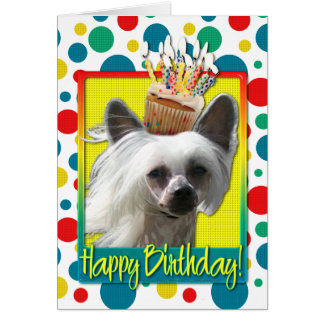 Birthday Cupcake - Chinese Crested - Kahlo Card