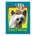 Birthday Cupcake - Chinese Crested - Kahlo Postcards