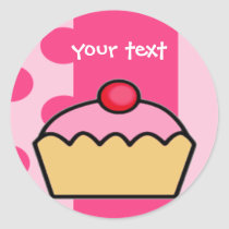 birthday cupcake classic round sticker