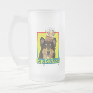 Birthday Cupcake - Collie - Caroline Frosted Glass Beer Mug