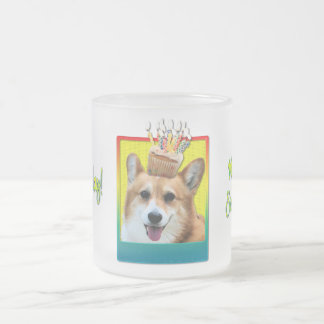 Birthday Cupcake - Corgi - Owen Frosted Glass Coffee Mug