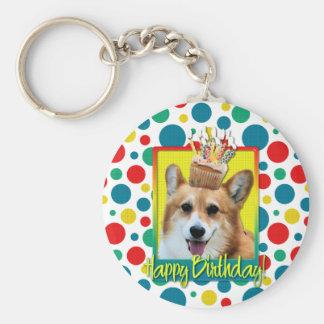 Birthday Cupcake - Corgi - Owen Basic Round Button Keychain
