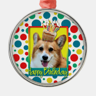 Birthday Cupcake - Corgi - Owen Round Metal Christmas Ornament
