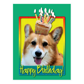 Birthday Cupcake - Corgi - Owen Post Card