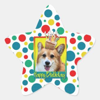 Birthday Cupcake - Corgi - Owen Star Sticker