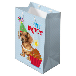 dbdc197871cc Birthday Cupcake Dachshund Medium Gift Bag