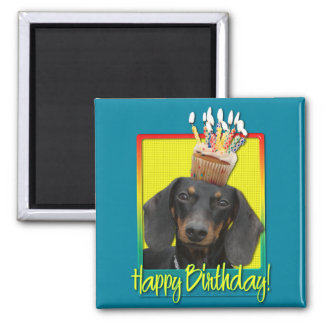 Birthday Cupcake - Dachshund - Winston 2 Inch Square Magnet