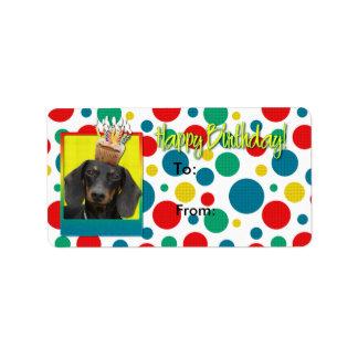 Birthday Cupcake - Dachshund - Winston Address Label