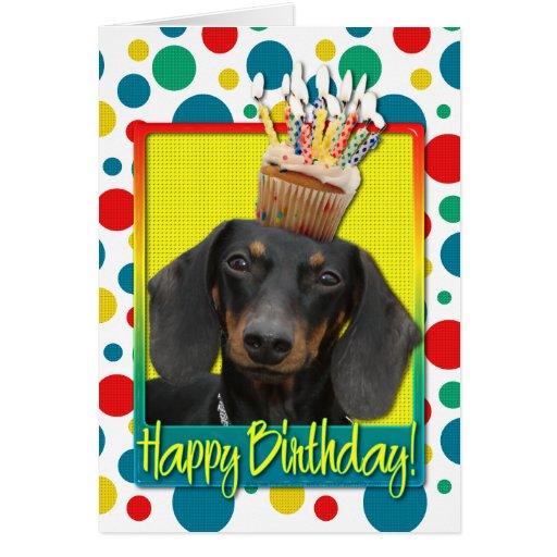 Birthday Cupcake - Dachshund - Winston Card