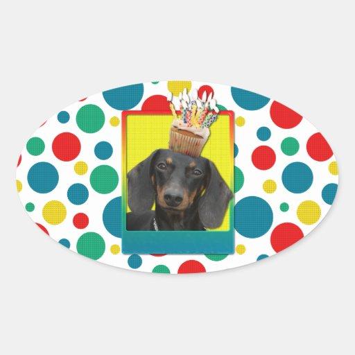 Birthday Cupcake - Dachshund - Winston Oval Sticker