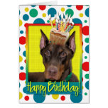 Birthday Cupcake - Doberman - Red - Rocky Greeting Card
