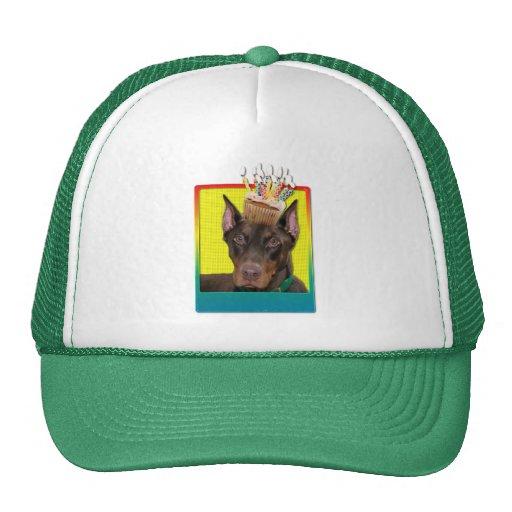Birthday Cupcake - Doberman - Red - Rocky Trucker Hat