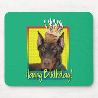 Birthday Cupcake - Doberman - Red - Rocky Mouse Pad