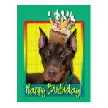Birthday Cupcake - Doberman - Red - Rocky Postcard