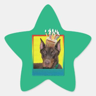 Birthday Cupcake - Doberman - Red - Rocky Star Sticker