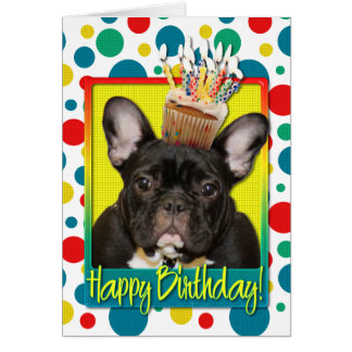 Birthday Cupcake - French Bulldog - Teal Card