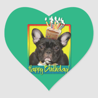 Birthday Cupcake - French Bulldog - Teal Heart Sticker