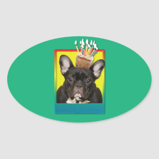 Birthday Cupcake - French Bulldog - Teal Oval Sticker