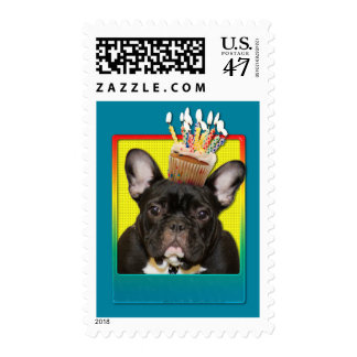 Birthday Cupcake - French Bulldog - Teal Postage