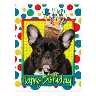 Birthday Cupcake - French Bulldog - Teal Postcard