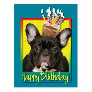 Birthday Cupcake - French Bulldog - Teal Postcard