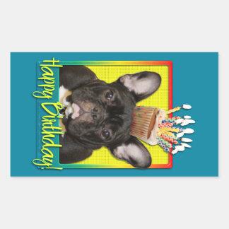 Birthday Cupcake - French Bulldog - Teal Rectangular Sticker