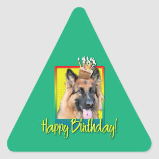 Birthday Cupcake - German Shepherd - Chance Triangle Sticker
