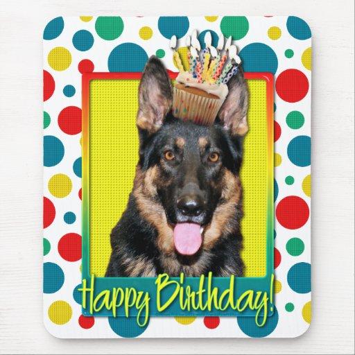 Birthday Cupcake - German Shepherd - Kuno Mousepads