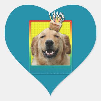 Birthday Cupcake - Golden Retriever - Mickey Heart Sticker