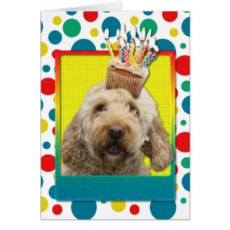 Birthday Cupcake - GoldenDoodle Greeting Card